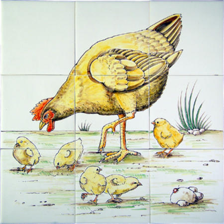 kip met kuiken geschilderd op oudhollandse tegels